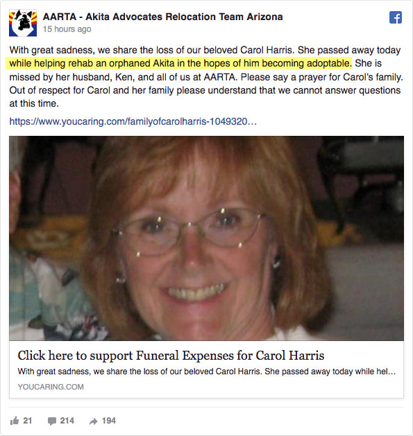 Carol harris killed by rescue akita