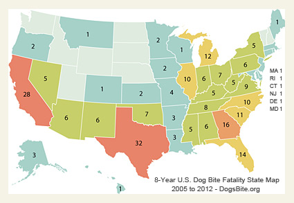 dogsbiteorg releases 8 year us dog bite fatality state map 2005 to 2012 and discussion notes dogsbite blog