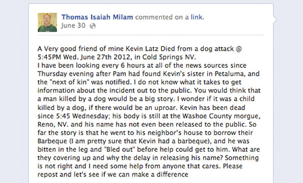 friend of kevin latz, killed by a pit bull