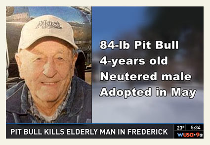 man killed by adopted pit bull, milk driver for 57 years in Frederck