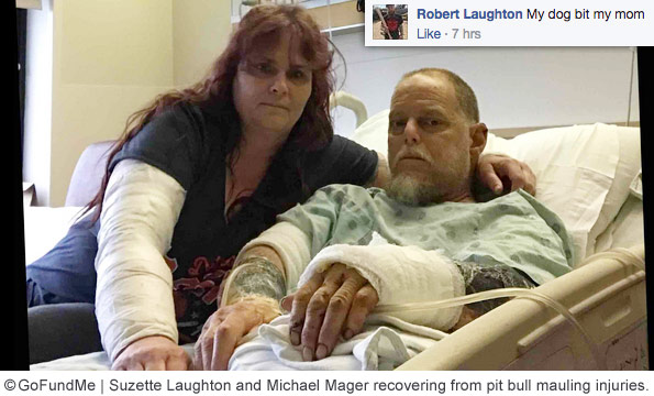 Suzette Laughton, Michael Mager pit bull mauling injuries