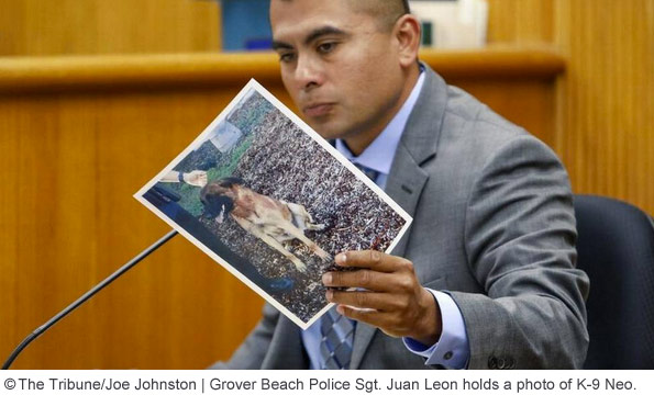 Grover Beach Sgt. Juan Leon Holds Photo of Fatally Attacking K-9