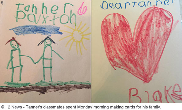 Tanner Smith kindergarten classmates make cards for his family