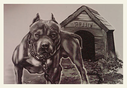 Flatline corporation pit bull tattoo imagery