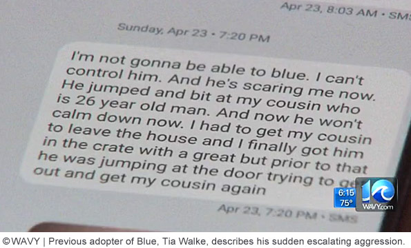 Tia Walke returned blue to FHRC after it attacked her nephew